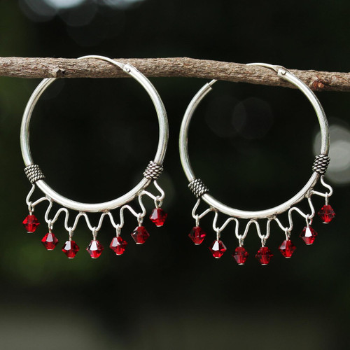 Sterling Silver Beaded Hoop Earrings from Thailand 'Classic Red'