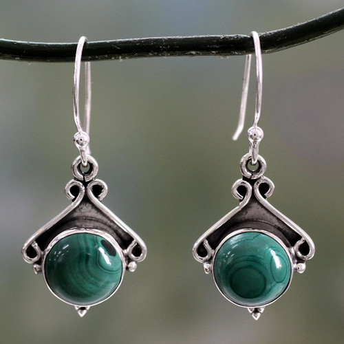 Sterling Silver and Malachite Dangle Earrings 'Forest Charm'