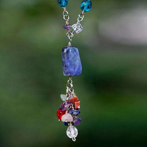 Recycled Paper and Gemstone Y Necklace 'Recycling Rainbows'