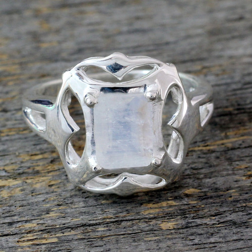 Rainbow Moonstone Cocktail Ring 'Reverie'