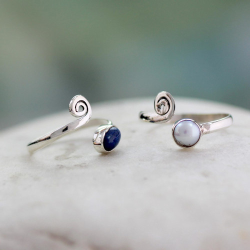 Pearl and Lapis Lazuli Sterling Silver Toe Rings (Pair) 'Perfection'
