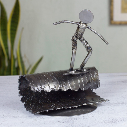 Hand Crafted Mexican Recycled Metal and Cart Parts Sculpture 'Rustic Surfer'