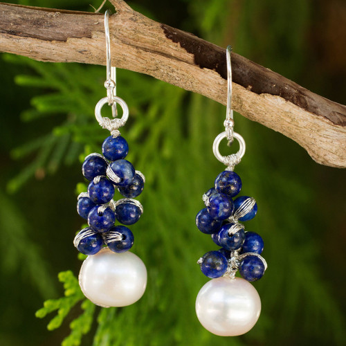 Handmade Cultured Pearl and Lapis Lazuli Cluster Earrings 'Blue Sonata'
