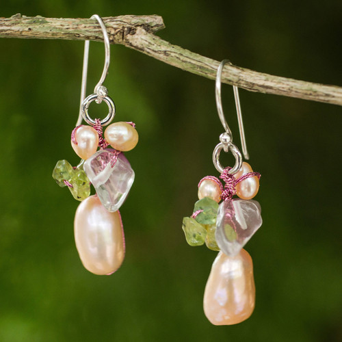 Pearl and peridot cluster earrings 'Rosy Dawn'
