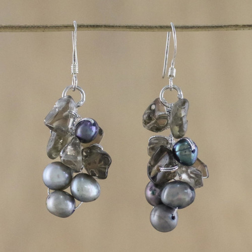 Pearl and Quartz Dangle Earrings 'Midnight Mystery'