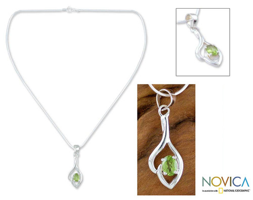 Sterling Silver and Peridot Necklace 'Shy'