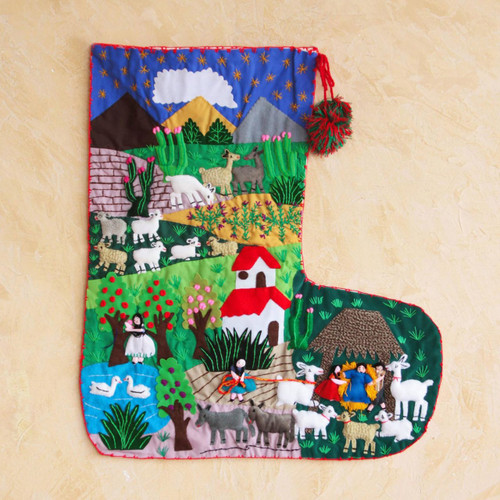 Applique Christmas stocking 'Manger in Peru'