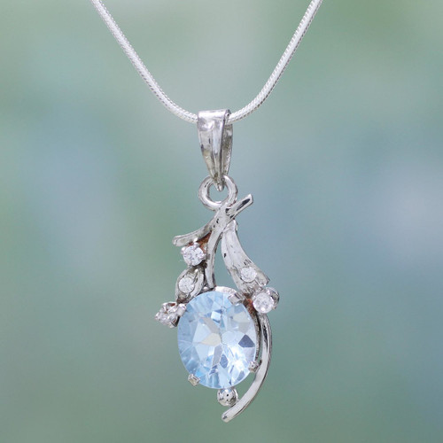 Fair Trade Sterling Silver Necklace Cubic Zirconia Jewelry 'Scintillating Bouquet'