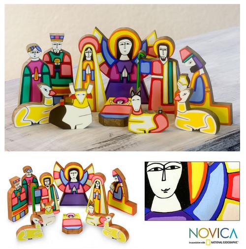 Handmade Religious Wood Nativity Scene Sculpture (11 Pieces) 'Christmas Color'