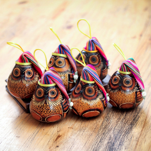 Christmas Mate Gourd Bird Ornament (Set of 6) 'Christmas Owls'