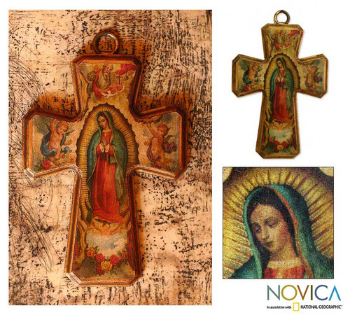 Artisan Crafted Christianity Wood Cross 'Guadalupe Queen of Heaven'