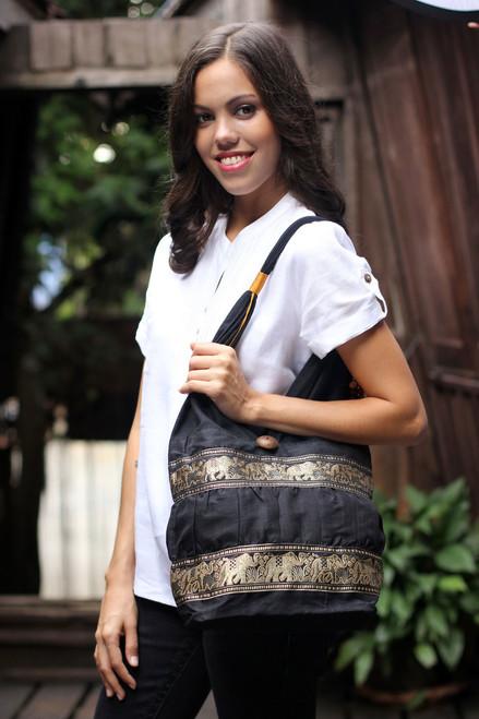 Black Cotton Should Bag from Thailand 'Black Elephant Parade'