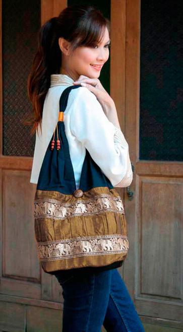 Silk and cotton shoulder bag 'Gold Elephant Parade'