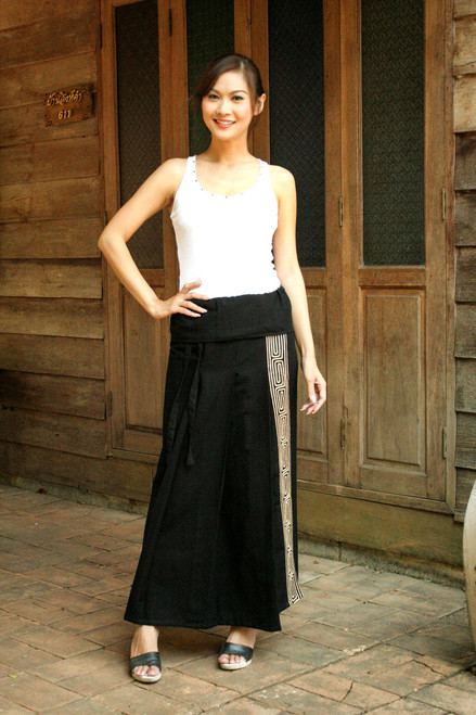 Black Cotton Wrap Skirt 'Thai Deluxe'
