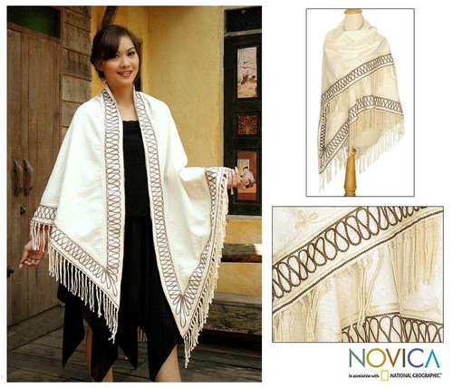 Embroidered Cotton Shawl 'Dance'