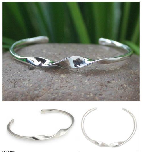 Handmade Modern Sterling Silver Cuff Bracelet 'Ribbon Twist'