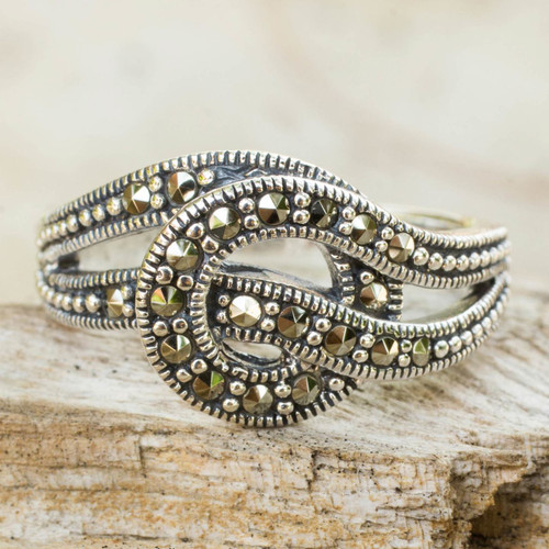 Artisan Crafted Thai Silver and Marcasite Ring 'Love Knot'