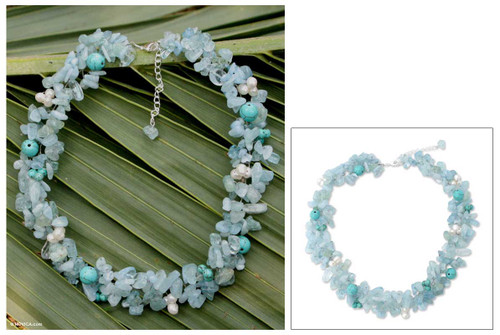 Beaded Aquamarine Necklace from Thailand 'Sensation'