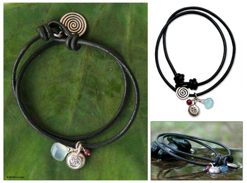 Artisan Crafted Leather Wrap Bracelet 'Peace Cycles'