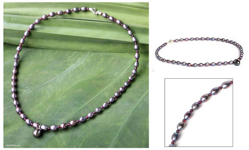 Garnet and Pearl Choker 'Her Beauty'