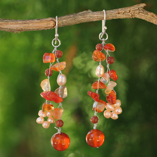 Handmade Carnelian Waterfall Earrings 'Sun Dancer'