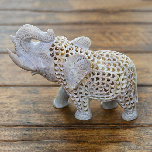 Jali Natural Soapstone Sculpture from India 'Father Elephant'