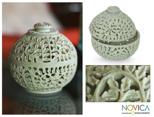 Natural Soapstone Jar in Handcarved Jali Openwork 'Jasmine Rose'