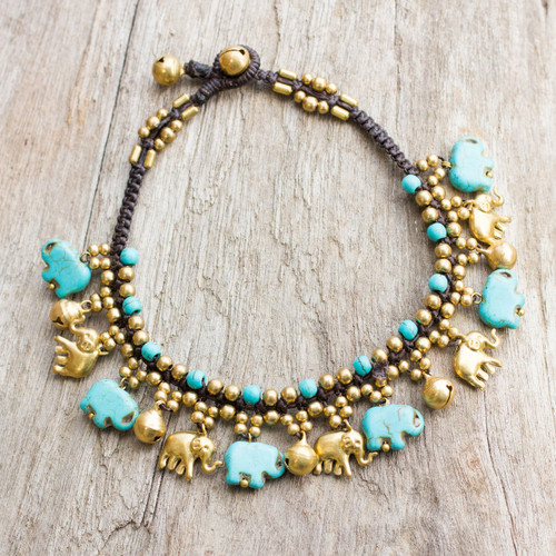 Brass Elephant Anklet with Blue Calcite and Jingling Bells 'Elephant Parade'