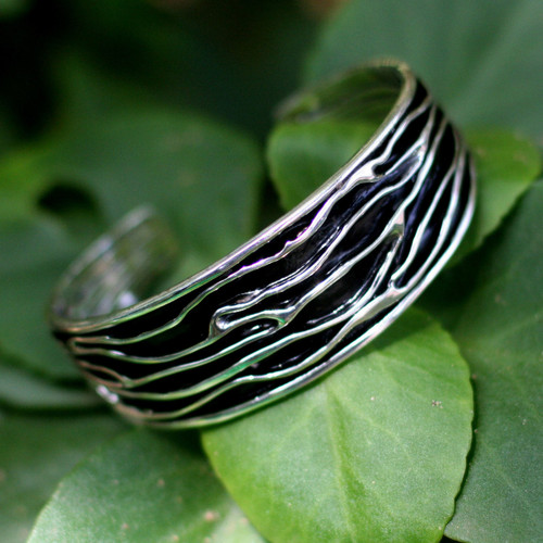 Hand Crafted Sterling Silver Cuff Bracelet 'River'