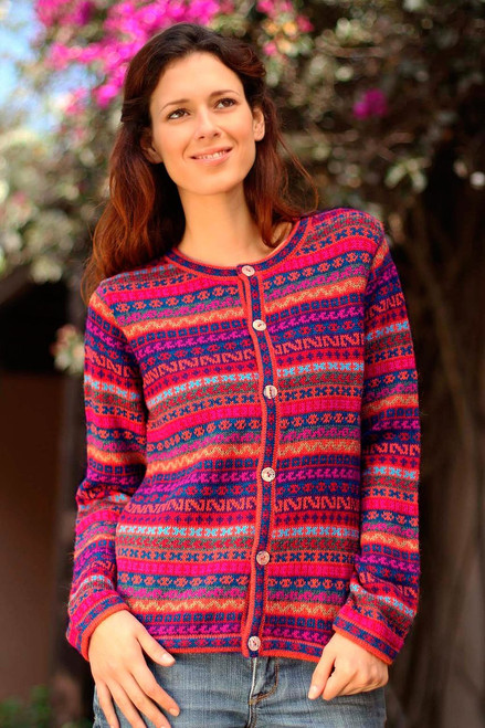 Alpaca Wool Cardigan Sweater 'Be Bold'