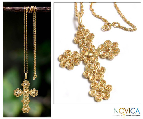 Gold Plated Cross Necklace 'Cross of Flowers'