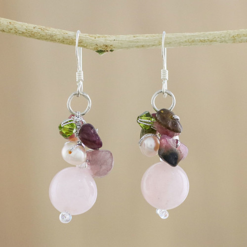 Rose Quartz and Pearl Cluster Earrings 'Petal Romance'