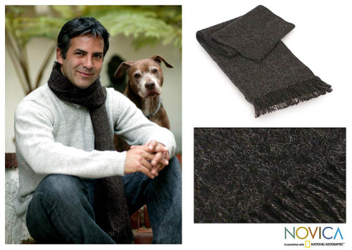 Unique Men's Alpaca Wool Solid Grey Scarf 'Charcoal Gift of Warmth'