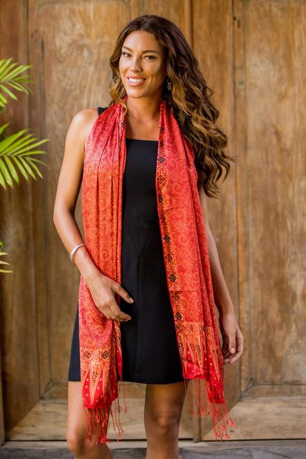 Balinese Hand-Stamped Batik Orange Silk Shawl 'Romantic Sunset'