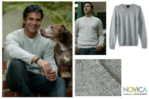 Men's Unique Alpaca Blend V Neck Sweater 'Gray Favorite Memories'