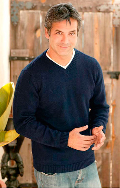 Men's Alpaca Blend V Neck Sweater 'Blue Favorite Memories'