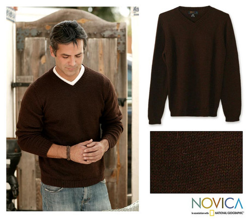 Men's Alpaca Blend V Neck Sweater from Peru 'Brown Favorite Memories'