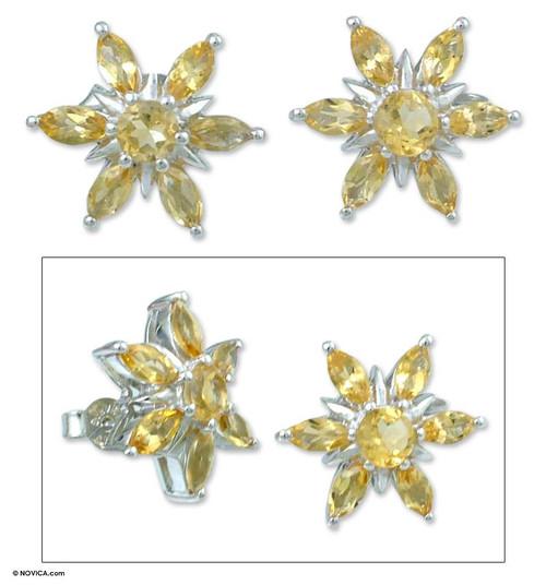 Citrine flower earrings 'Scintillating Stars'