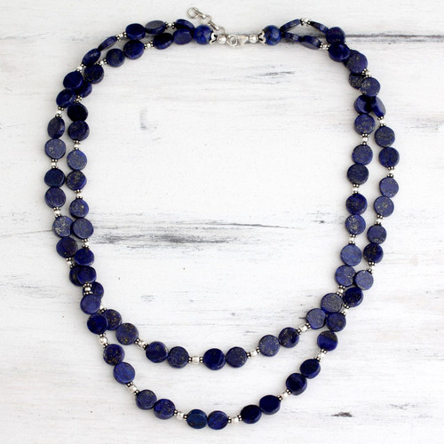 Lapis lazuli strand necklace 'Blue Universe'