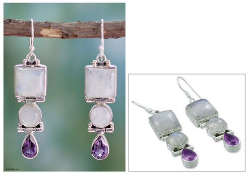 Sterling Silver Rainbow Moonstone and Amethyst Earrings  'Mystic Alliance'