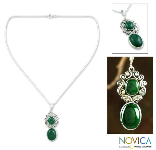 Artisan Crafted Malachite and Sterling Silver Necklace   'Queen of the Forest'