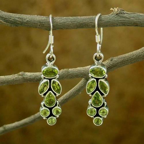 Peridot Earrings 9 Cts on Sterling Silver Jewelry from India 'Summer Allure'