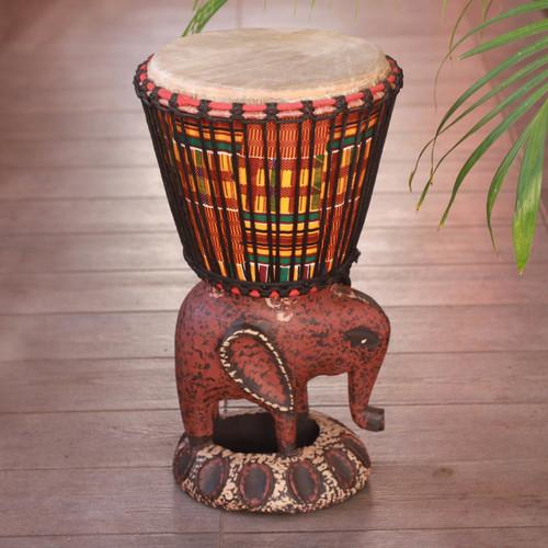 Wood Djembe Drum 'African Elephant'