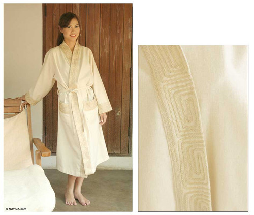 Women's Cotton Robe 'White Chocolate'