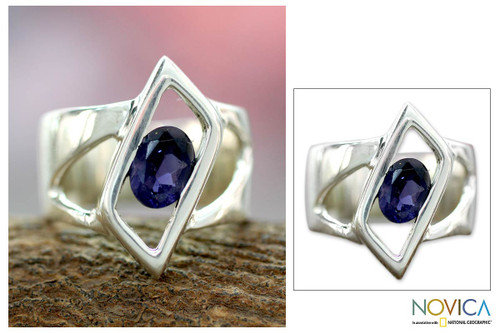 Sterling Silver Single Stone Iolite Ring from Modern Jewelry 'In Balance'