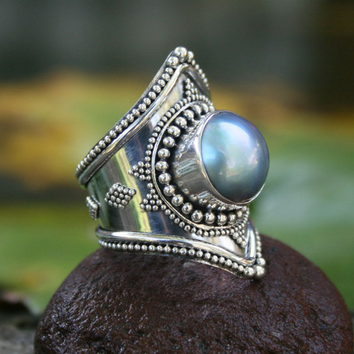 Sterling Silver and Pearl Cocktail Ring 'Faithful Pearl'