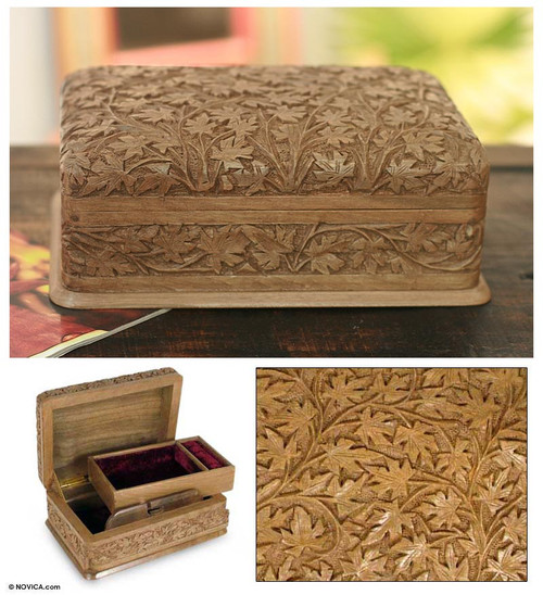 Artisan Hand Carved Wood Jewelry Box from India 'Wild Ivy'