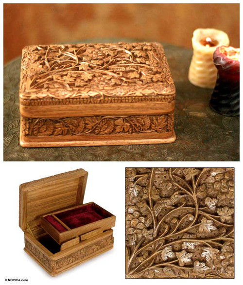 Hand Carved Wood Jewelry Box 'Secret Birds'