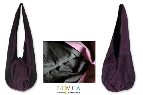 Silk and cotton shoulder bag 'Hill Tribe Plum Chic'