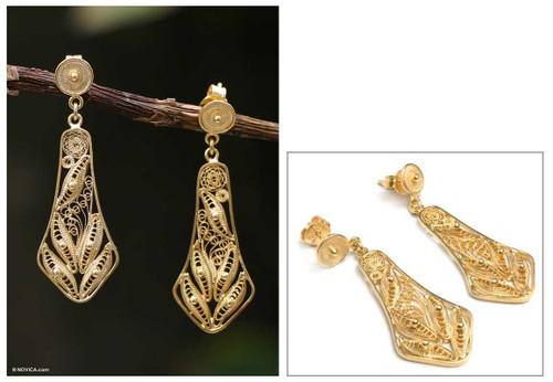 Handmade Gold Plated Filigree Earrings from Peru 'Bells'